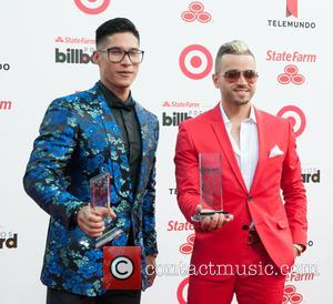 Chino y Nacho - Billboard Latin Music Awards 2014 held at Bank United Center - Pressroom - Miami, Florida, United...