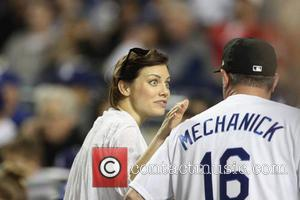 Lauren Cohan - Celebrities at the Dodgers game. The Philadelphia Phillies defeated the Los Angeles Dodgers by the final score...