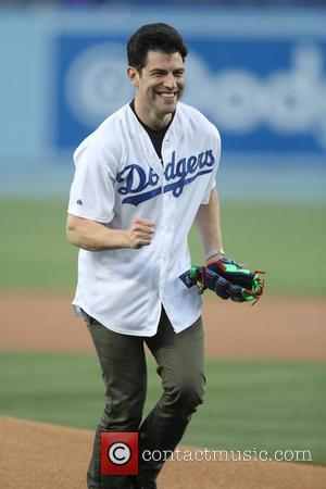 Max Greenfield - Celebrities at the Dodgers game. The Philadelphia Phillies defeated the Los Angeles Dodgers by the final score...