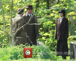 Hugh Bonneville, Alan Leech and Michelle Dockrey - Cast members film scenes for the new series of Downton Abbey in...