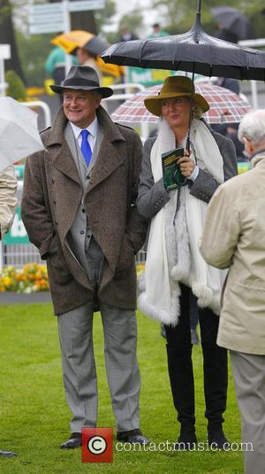 Hugh Bonneville and Lulu Evans - Hugh Bonneville and wife at Sandown Park racecourse. The 'Downton Abbey' actor has a...