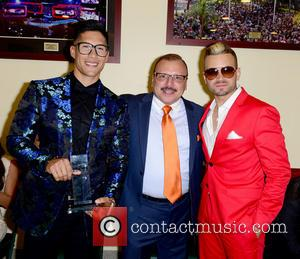 Chino, Lorenzo Muniz and Nacho - Billboard Latin Music Awards 2014 held at Bank United Center - Inside - Coral...