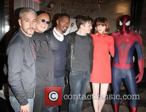 Emma Stone, Avi Arad, Jamie Foxx, Dane Dehaan, Matthew Tolmach and Spider Man