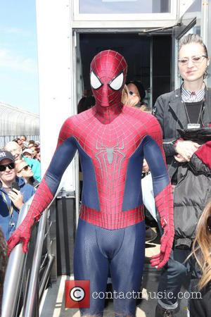 Spider Man - The cast of 'The Amazing Spider-Man 2' light the Empire State Building - NYC, New York, United...