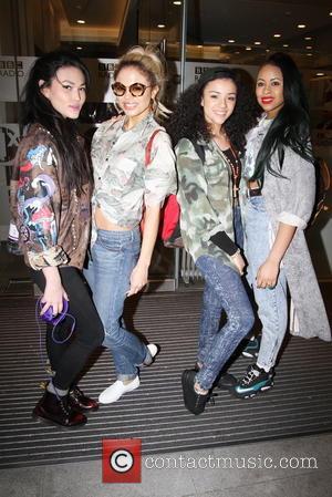 Shereen Cutkelvin, Amira McCarthy, Jess Plummer and Asami Zdrenka - Teen girl band 'Neon Jungle' leave BBC Radio 1 studios...