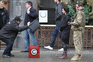 Mary Lynn Rajskub - Filming takes place in Trafalgar Square for Live another Day in London - London, United Kingdom...
