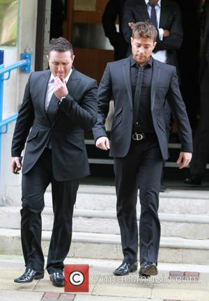 Duncan James, Simon Webbe and Antony Costa - Lee Ryan leaves Ealing Magistrates Court after pleading guilty - London, United...