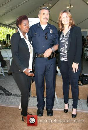Viola Davis, LAPD police chief Charlie Beck and Emily Dechanel