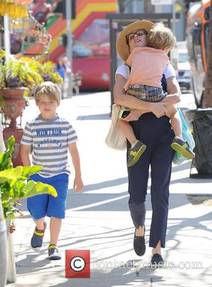 Julie Bowen, Oliver Phillips and John Phillips - Julie Bowen and her three sons enjoy a morning together at a...