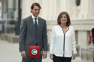 Rafael Nadal and Ana Botella - The Mayor of Madrid, Ana Botella, handing over the title of Honorary Citizen of...