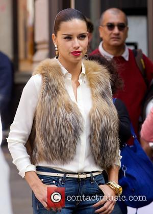 Adriana Lima - Adriana Lima poses as she models on a photo shoot for Maybelline in Soho - New York...