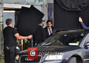 Colin Farrell - Colin Farrell and Rachel Weisz seen filming scenes for the movie 'The Lobster' at Joel's Restaurant on...