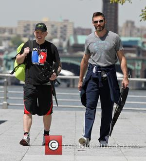 Hugh Jackman - Hugh Jackman working out in the park for his up coming movie 'Pan' in which he plays...