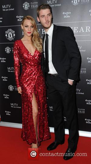 David De Gea and Edurne - Celebrities arrive at Manchester United Football Club, Old Trafford, Manchester Manchester United Player Of...