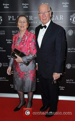 Sir Bobby & Lady Charlton - Celebrities arrive at Manchester United Football Club, Old Trafford, Manchester Manchester United Player Of...