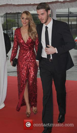 David De Gea and Edurne - Manchester United Player Of The Year Awards 2014 - Arrivals - Manchester, United Kingdom...