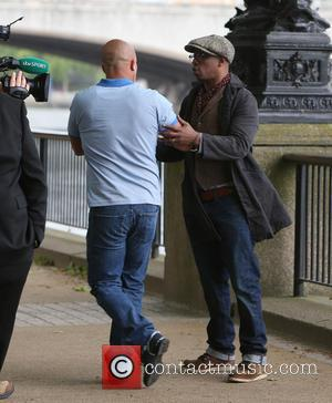 Ian Wright - Ian Wright filming a ITV advert for the World Cup outside ITV Studios - London, United Kingdom...