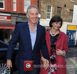 Tony Blair and Cherie Blair - Tony Blair and wife Cherie Blair spotted outside Chiltern Firehouse in London - London,...
