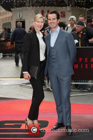 Jimmy Carr and Karoline Copping - European premiere of 'Godzilla' held at the Odeon Leicester Square - Arrivals - London,...