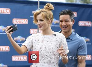 Bella Thorne and Mario Lopez - Bella Thorne seen at Universal studios where she was interviewed by Mario Lopez for...