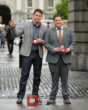 Channing Tatum and Jonah Hill - Hollywood actors Channing Tatum and Jonah Hill at Trinity College this afternoon where they...