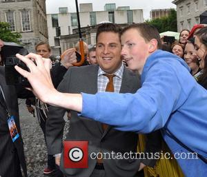 Jonah Hill - Hollywood actors Channing Tatum and Jonah Hill at Trinity College this afternoon where they were presented with...