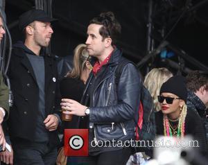 Chris Martin, Nick Grimshaw and Rita Ora