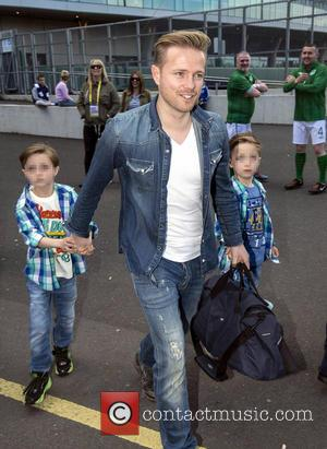 Nicky Byrne, Rocco Bryne and Jay Bryne - Before the Ireland vs.Turkey football match at the Aviva Stadium in Dublin,...