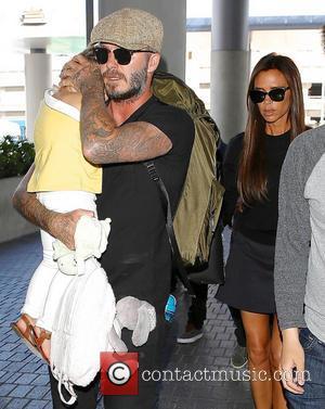 Harper Beckham, David Beckham and Victoria Beckham