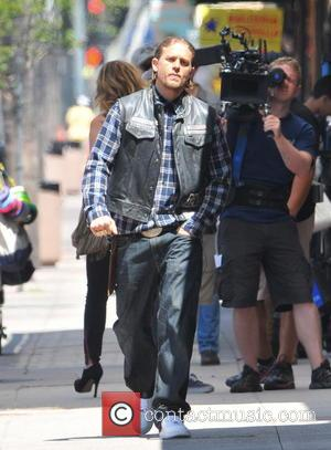 Charlie Hunnam - Charlie Hunnam, Drea De Matteo and Katey Sagal on the set of 'Sons of Anarchy' filming in...