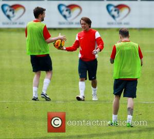 Danny Jones, Jack Whitehall and Mark Owen - The England football team take part in a training session ahead of...