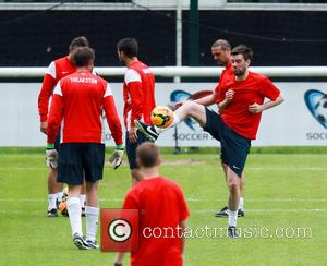Jamie Theakston and Jack Whitehall - The England football team take part in a training session ahead of this weekend's...