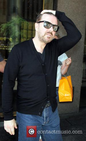 Ricky Gervais - Ricky Gervais  at SiriusXM to  talk about his Netflix original series Derek in New York....
