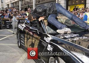 David Hasselhoff and Hayley Roberts - The 2014 Gumball 3000 arrives on London's Regent Street. Thousand's of people gathered on...