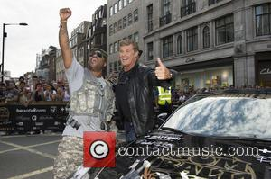 David Hasselhoff and Xzibit - The 2014 Gumball 3000 arrives on London's Regent Street. Thousand's of people gathered on a...