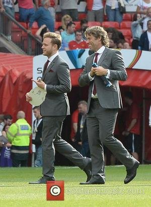 Olly Murs and John Bishop - Soccer Aid at Old Trafford Manchester, UK - Manchester, United Kingdom - Sunday 8th...