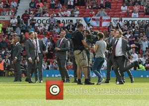 Olly Murs, Marvin Humes, David Seaman and John Bishop - Soccer Aid at Old Trafford Manchester, UK - Manchester, United...