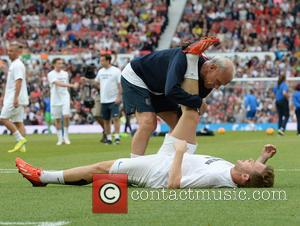 Olly Murs and Peter Reid - UNICEF UK Soccer Aid 2014 held at Old Trafford - Manchester, United Kingdom -...