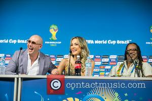 Claudia Leitte, Rapper Pitbull and Joao Jorge Rodrigues - 2014 FIFA World Cup - Press conference - Sao Paulo, SP,...