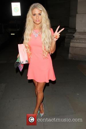 Bianca Gascoigne - Bianca Gascoigne dressed in pink, leaves Gabbi's Head launch party giving a victory 'V' hand gesture for...