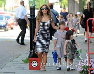 Myleene Klass, Ava Bailey Quinn and Hero Harper Quinn - Myleene Klass out and about in Highgate, North London with...
