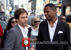 Eric McCormack and A.J. Calloway - Eric McCormack appears during an interview on 'Extra' live from Times Square - New...