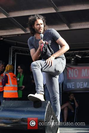 Russell Brand - Russell Brand addresses the crowd of protesters at the anti-austerity demonstration, Parliament Square,  London - London,...