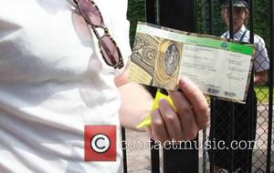 Tate Donovan - Tate Donovan displays his £20 ticket to the 2014 Wimbledon Championships at the All England Club on...