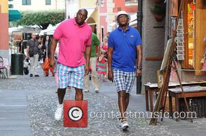 Magic Johnson and Samuel L. Jackson - Magic Johnson and Samuel L. Jackson relaxing in Portofino - Portofino, Italy -...