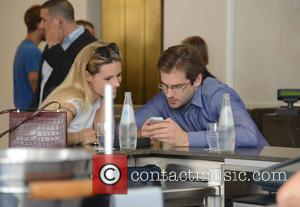 Michelle Hunziker and Tomaso Trussardi - Michelle Hunziker and Tomaso Trussardi spend time together at Cafe Trussardi - Milan, Italy...