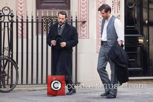 Jeremy Piven and Gregory Fitoussi - Filming takes place on the set of ITV drama series 'Mr Selfridge' - London,...