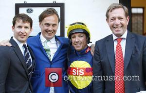 James Blunt, Frankie Dettori and Derrick Thompson - James Blunt appears at Newmarket Racecourse - Newmarket, United Kingdom - Friday...