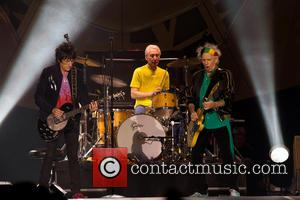 Ronnie Wood, Keith Richards and Charlie Watts - The Rolling Stones performing live on stage on their '14 ON FIRE'...
