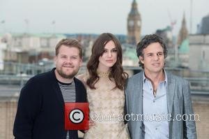 Keira Knightley, James Corden and Mark Ruffalo - 'Begin Again' photocall held at St Vincent House. - London, United Kingdom...